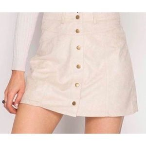 She + Sky tan faux suede Button skirt